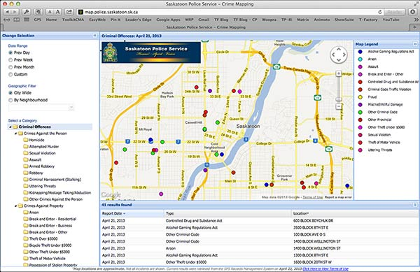 Saskatoon crime mapping provided by the Saskatoon Police Service